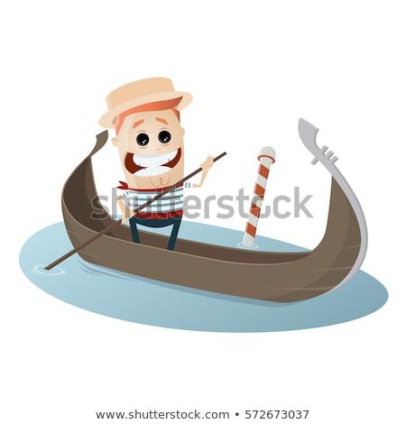 Komik venedik gondol vektör karikatür Venedik Stok fotoğraf © pcanzo