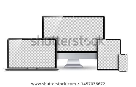 Stock fotó: Táblagép · kezek · tart · tabletta · izolált · képernyő