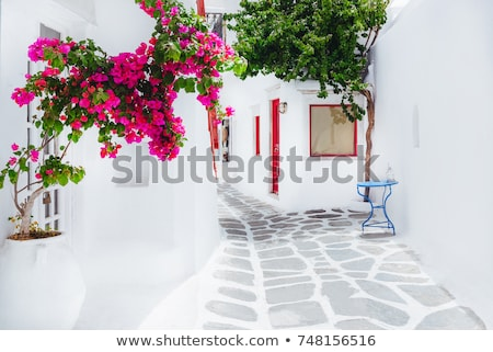 青 · ドア · ギリシャ · 木製 · 白 · 壁 - ストックフォト © ElinaManninen
