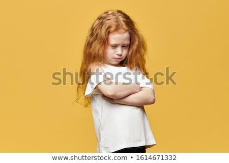 Сток-фото: девочку · девушки · лице · волос · знак · рот