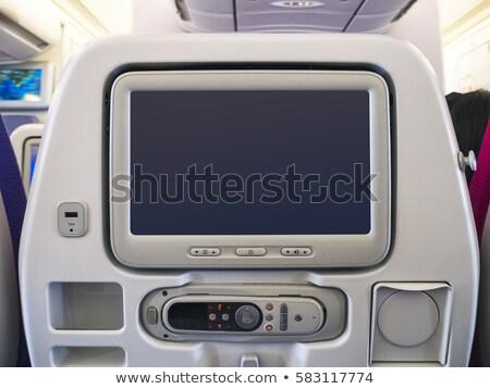 Stok fotoğraf: Beyaz · lcd · ekran · uçak · koltuk · bo