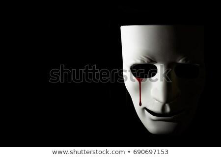Véres könnyek szenvedés fehér maszk fekete Stock fotó © cosma