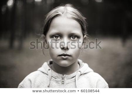 黒白 肖像 疲れ 女の子 悲しい 目 ストックフォト © dacasdo