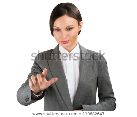 Business woman pointing her finger on imaginary virtual button stock photo © HASLOO