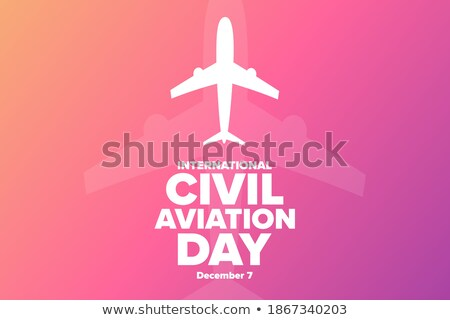 Aircraft poster with passenger airplane image. Vector illustrati Stock photo © leonido