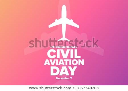aircraft poster with passenger airplane image vector illustrati stock photo © leonido