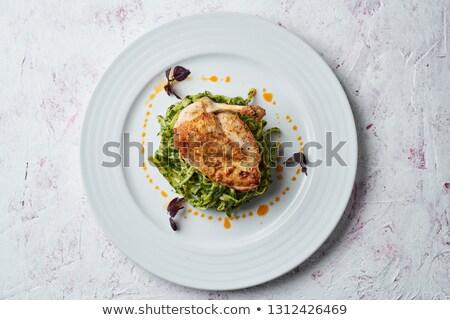 Fine dining tyúk vacsora főétel virág stúdió Stock fotó © DonLand