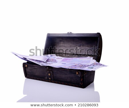 The wooden casket is filled by money Stock photo © vavlt