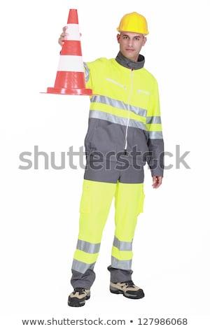 Segédmunkás forgalom jelző nő építkezés munka Stock fotó © photography33