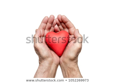 Old hand with red heart. Clipping path included. Stock photo © sqback
