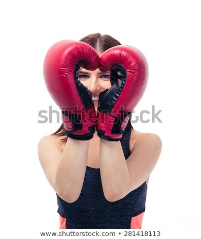 Foto stock: Mulher · bonita · luvas · de · boxe · lutador · veja · vermelho