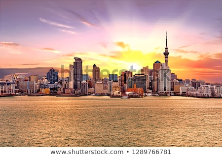 Cityscape · изображение · Skyline · Новая · Зеландия · рассвета · дороги - Сток-фото © compuinfoto