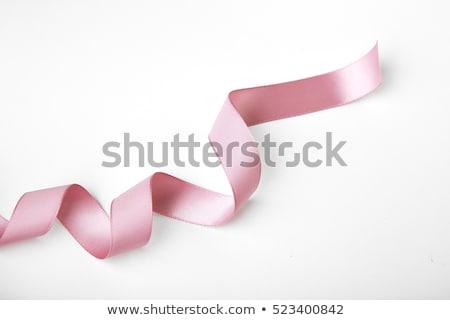 Stockfoto: Mooie · roze · geschenk · witte · lint · geïsoleerd