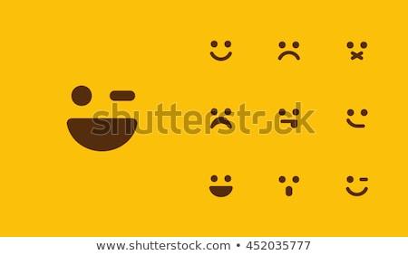 Triste cara feliz Asia mujer manos Foto stock © szefei