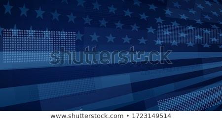 Hazafias terv csillagok zászló ünnep szalag Stock fotó © alexmillos
