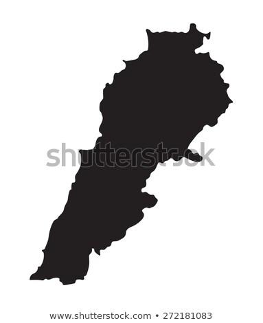 Siyah Lübnan harita idari şehir siluet Stok fotoğraf © Volina