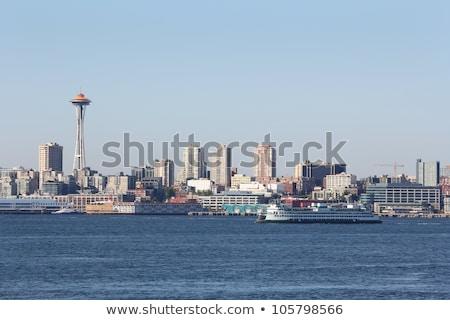 Seattle skyline centrum kantoorgebouwen zonsondergang Stockfoto © cboswell