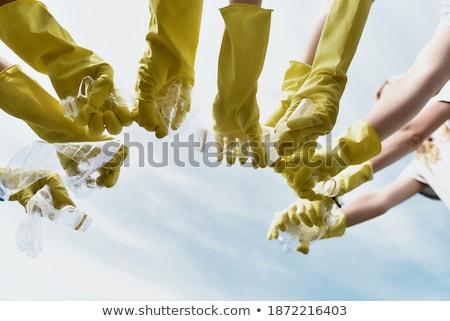 Gelukkig groep milieu recycling handelsmerk logos Stockfoto © pxhidalgo
