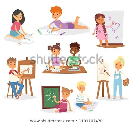 Gyermek készít festmény kicsi asztal aranyos Stock fotó © gewoldi
