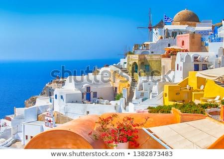 ablak · kilátás · templom · Santorini · klasszikus · kék - stock fotó © w20er