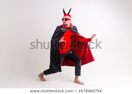 férfi · ördög · jelmez · halloween · mosoly · szexi - stock fotó © elnur