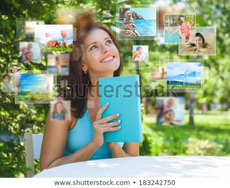 Foto stock: Retrato · jovem · feliz · mulher · viajar