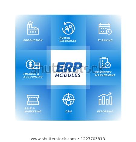 ERP in blue blocks, flat design Stock photo © marinini