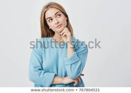 мышления стороны подбородок женщину синий Сток-фото © bmonteny