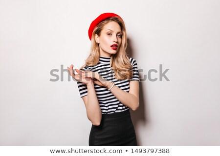 ストックフォト: 女性 · 白 · 縞模様の · 先頭 · スカート · 袋
