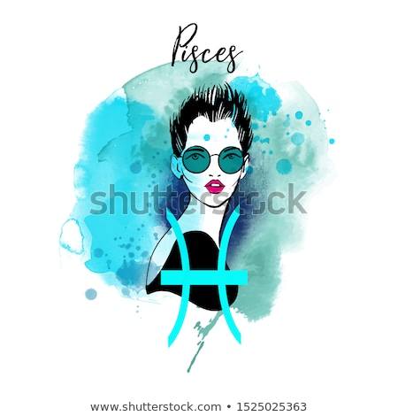 Zodiac horoscope sign Pisces with a beautiful girl Stock photo © BlueLela