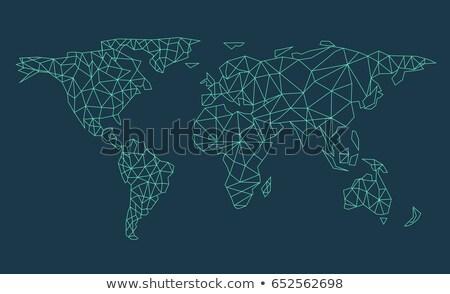 világtérkép · hálózat · technológia · kék · kör · ikon - stock fotó © cherezoff