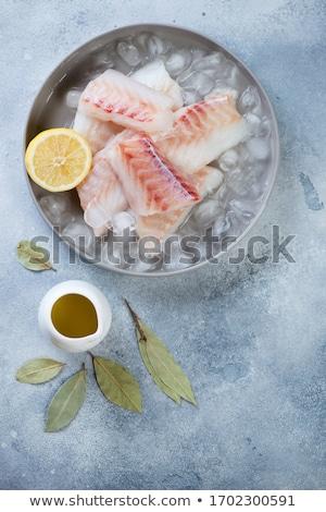 Stock fotó: Jégkocka · hal · filé · izolált · fehér · víz