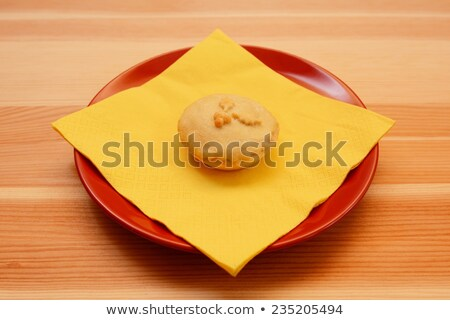 homemade christmas mince pie with a yellow napkin stock photo © sarahdoow