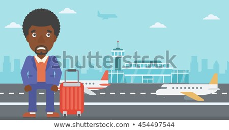 Cartoon przestraszony człowiek strony projektu crazy Zdjęcia stock © lineartestpilot
