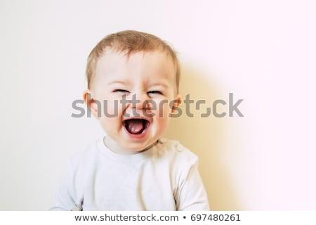 ストックフォト: 幸せ · 赤ちゃん · 孤立した · 座って · 階