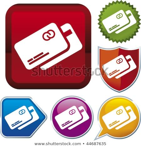 Kredi kartları kırmızı vektör ikon düğme Internet Stok fotoğraf © rizwanali3d