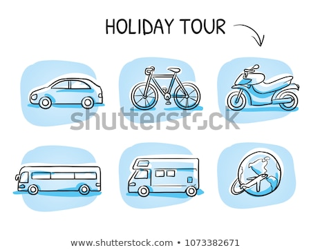 Caravana carro esboço feito à mão azul desenho Foto stock © nikdoorg