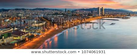 Barcelona · tengerpart · Spanyolország · város · tenger · sziluett - stock fotó © elxeneize