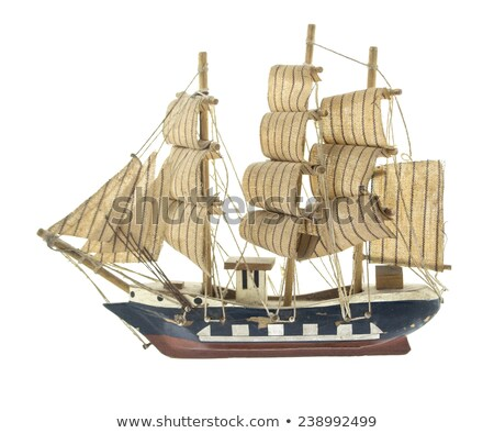 Foto stock: Wooden Ship Toy Model Isolated