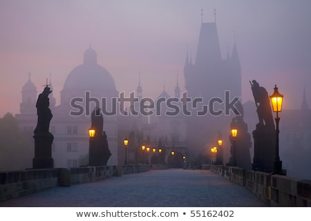 charles bridge early in the morning stock photo © andreykr