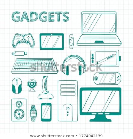 electronic equipment square vector green icon design set stock photo © rizwanali3d