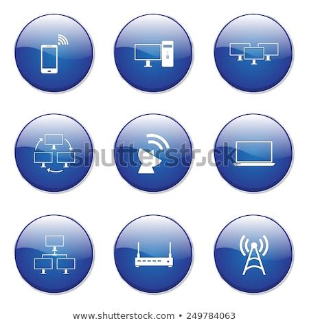 Foto stock: Comunicación · azul · vector · botón · icono · diseno