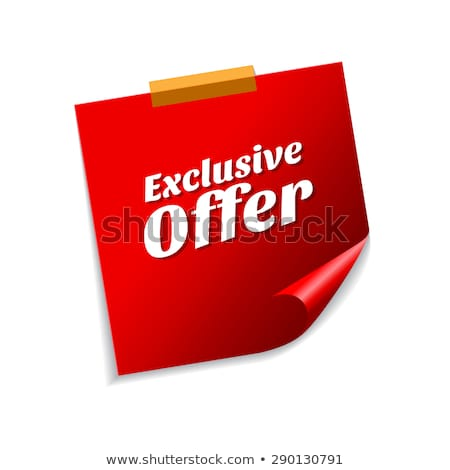exclusive offer red sticky notes vector icon design stock photo © rizwanali3d