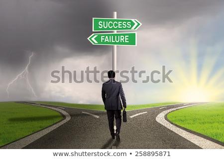Succes mislukking teken symbool business potlood Stockfoto © kiddaikiddee