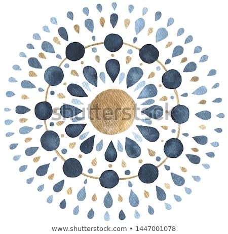 Stockfoto: Aquarel · Blauw · mandala · patroon · asian