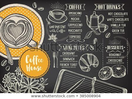 Сток-фото: кофе · меню · доске · набор · напитки