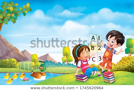 девушки утки девочку каменные пруд глядя Сток-фото © nizhava1956