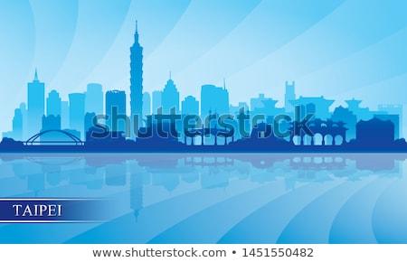 ufuk · çizgisi · Tayvan · gün · batımı · kentsel · mimari - stok fotoğraf © fazon1