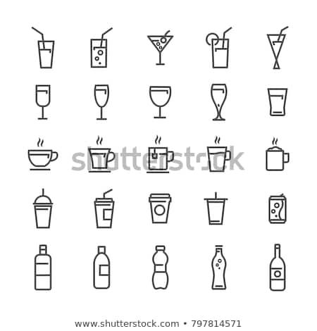 Bebida fría icono vidrio beber leche taza Foto stock © kiddaikiddee