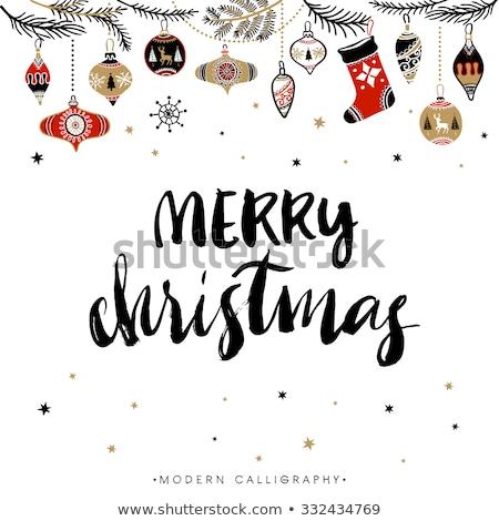 neşeli · Noel · kaligrafi · modern · fırçalamak - stok fotoğraf © rommeo79